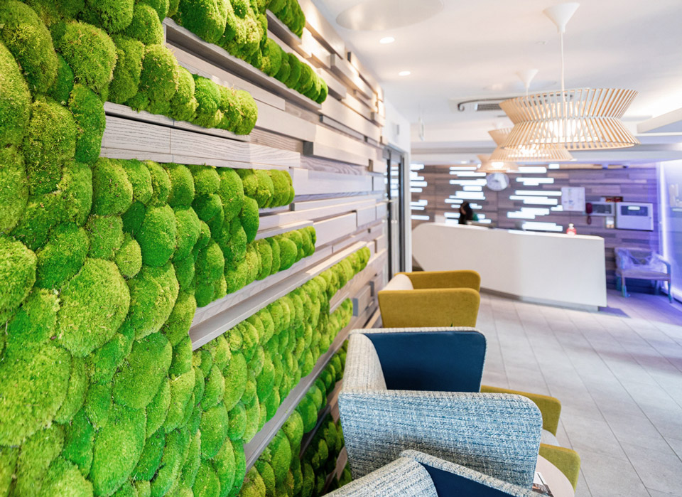 Living wall in treatment centre waiting room